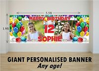Personalised GIANT Large Happy Birthday Banner Balloons Boys Girls N36