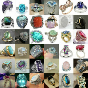 Gorgeous Women Wedding Rings 925 Silver,Gold Jewelry Sapphire Ring Size 6-10