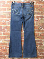 SILVER Jeans sz 29 Mirage Flare Leg Stretch Western Cowgirl Distressed Blue