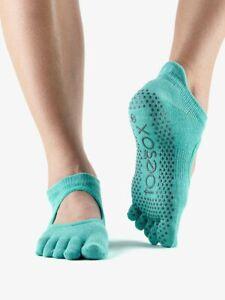 Toesox Full Toe Low Rise Grip Socks For Barre Pilates Yoga - Aqua