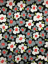 """Noir,Blanc & Gris """" Ada """" Fleurs Floral Imprimé 100% Coton Popeline Tissu"""