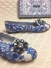 New DOLCE GABBANA Blue Majolica Embellished Jewel Crystal Shoes Pumps Ballerina