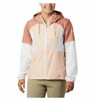 COLUMBIA Side Hill lined hooded colorblock women's rain wind jacket -Peach-SMALL