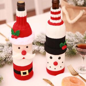 2x Christmas Wine Bottle Cover Bag Party Dinner Table Decor Snowman Santa Claus