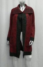 RED Dark Red/Gray Soft Open Front Wide Collar Long Sleeve Cardigan Sweater sz M