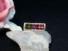 Edelsteinring Ring  Silber 925 mit Granat, Amethyst, Peridot Gr 52 (16,5 mm Ø)