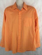 Oleg Cassini Long Sleeve Button Shirt Size 16 1/2 Orange Single Needle Tailoring