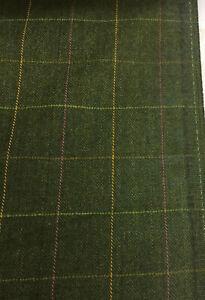 2.5 Metres Green Window Pane Check & Herringbone 100% Wool Jacketing Fabric