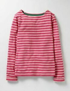 Mini Boden Breton Pink & Red Striped Long Sleeve T-Shirt Top 13-14 Years