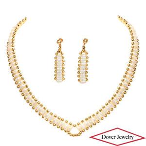 Estate Pearl 14K Gold Elegant Necklace & Earrings Set 24.1 Grams NR