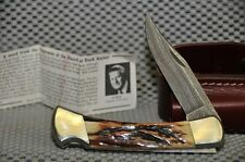 NEW Buck Damascus/Stag Folding Hunter knife 110DM Cat. #1684 in shop worn carton