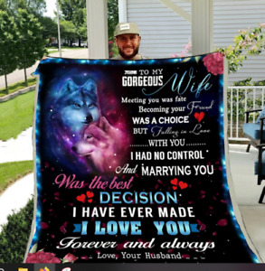 Wolf - Husband to Wife - Meeting you was a fate Sofa Fleece, Quilt Blanket