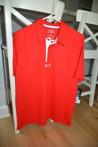 Oakley Elemental 2.0 Polo Mens S Small Red Line Plain Golf Regular Fit Tee Shirt