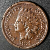 1871 INDIAN HEAD CENT - With LIBERTY VF VERY FINE Details **Key Date**