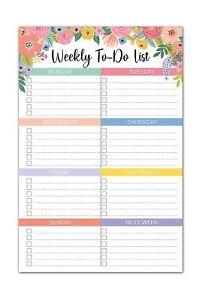 Sweetzer & Orange Floral Weekly to Do List Notepad. Magnetic Weekly Planner N...