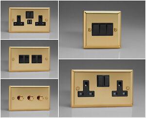 Varilight Classic Victorian Brass Effect Range - Black Inserts & Black Switches