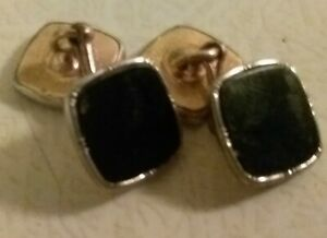 Antique Barry SQUARE CUFFLINKS PLATINUM PLATED WITH BLACK ONYX