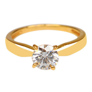 14KT Solid Yellow Gold With VVS1 Clarity 1.75Ct Round Cut Solitaire Women's Ring