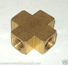 "Brass Pipe Fitting 4 Way Equal Female Cross Connector Coupling 1/4"" NPT"