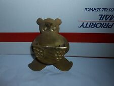 VTG UNPOLISHED SOLID BRASS TEDDY BEAR WALL POCKET HANGING HOLDER DECOR INDIA