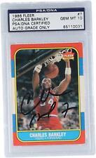 Charles Barkley Philadelphia 76ers Autographed 1986 Fleer RC #7 Card PSA 10