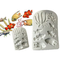 3D Sea Coral Fish Seaweed Silicone DIY Fondant Cake Mould Decorating Tools NEW