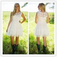 Short Mini White Ivory Country Lace Chiffon Beach Wedding Dresses Bridal Gowns