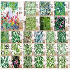 Tropical Palm Leaves Floral Flamingo Shower Curtain 12 Hooks Waterproof Fabric