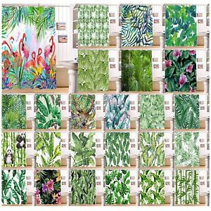 Tropical Banana Palm Leaves Flamingo Shower Curtain & 12 Hooks Waterproof Fabric