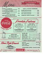 ORIGINAL 1956 WOOLWORTH LUNCH COUNTER MENU