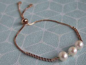 Rose Gold Plated Freshwater Pearl Adjustable Slider Bracelet