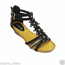 LADIES WOMENS STRAPPY SUMMER BEACH EVENING LOW MID HEEL WEDGE SANDALS SHOES SIZE