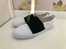 ASOS WHITE  & BLACK HEX EFFECT FAUX LEATHER PLIMSOLL SLIP ON SHOES - UK SIZE 8