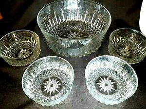"Vintage 5 Pc  ARCOROC of FRANCE Crystal 9"" Salad, Fruit Bowl Set Diamant Pattern"