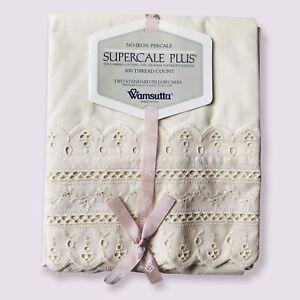 Wamsutta Vtg Supercale Plus (2) Standard Size Pillowcases 200 Thread Count Ivory
