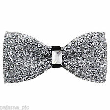 Fashion Silver Diamonds Glitters Rhinstone TUXEDO BOW TIE Bowtie Wedding Party