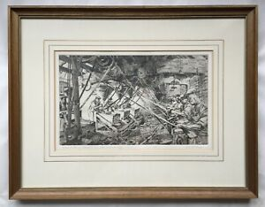'Glass Cutting Stewarts Crystal Stourbridge' framed etching by Robert Ball RBSA.