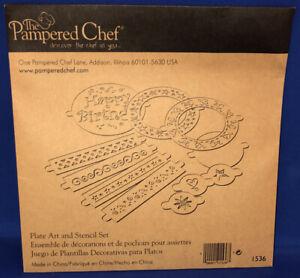 Pampered Chef Plate Art & Stencil Set #1536 EUC 11 pcs. Cake Decorating
