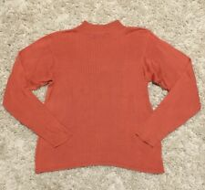 Jack Mulqueen Silk Mock Turtleneck Orange Pink Sweater Long Sleeve Shirt Medium