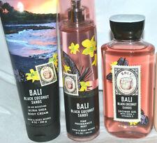3 Bath Body Works BALI BLACK COCONUT SANDS Cream / Mist Spray / Shower Gel Set