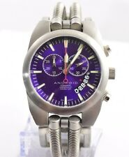Android by Aragon AD430 Purple Hydraumatic Chronograph Stainless Cuff Watch