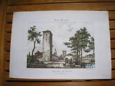 Gravure lithographie couleur XIXe Guienne monumentale : Village de TILLAC Gers