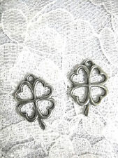 LUCKY 4 LEAF CLOVER SHAMROCK PEWTER CHARMS DANGLING LUCK OF THE IRISH EARRINGS