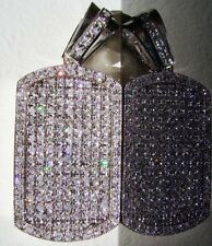 New $199 Mens Silver/Platinum Style Iced Out Hiphop Dogtag Pendant Jewelry Bling