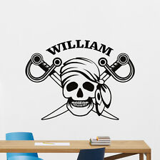 Custom Name Pirate Skull Wall Decal Personalized Vinyl Sticker Art Mural 315xxx