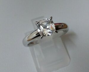 QVC Diamonique Classic 1.25ct Cushion Cut Solitaire Ring Sterling Silver Size M