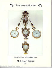 Catalogue de Vente Horlogerie Montre de Collection Pendule Ancienne Watches 1998