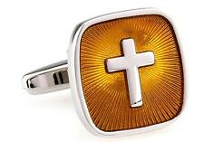 Cross Cufflinks Silver Gold Pastor Priest Wedding Fancy Gift Box Free Ship USA