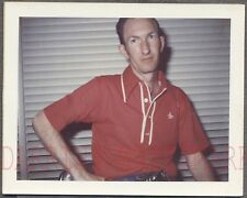 Vintage Polaroid Color Photo Man in RED Polo Shirt 738581
