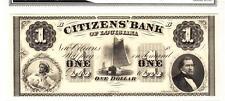 1860'S $1 Citizen Bank Of Louisiana-SUPERB GEM UNCIRCULATED!
